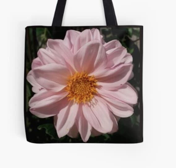 Tote Bag White Flower Head design double sided lined