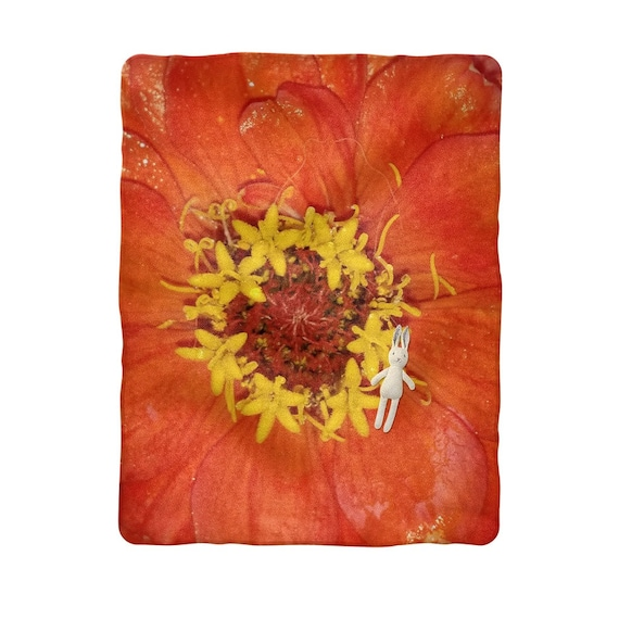 Red Zinnia Sublimation Baby Blanket