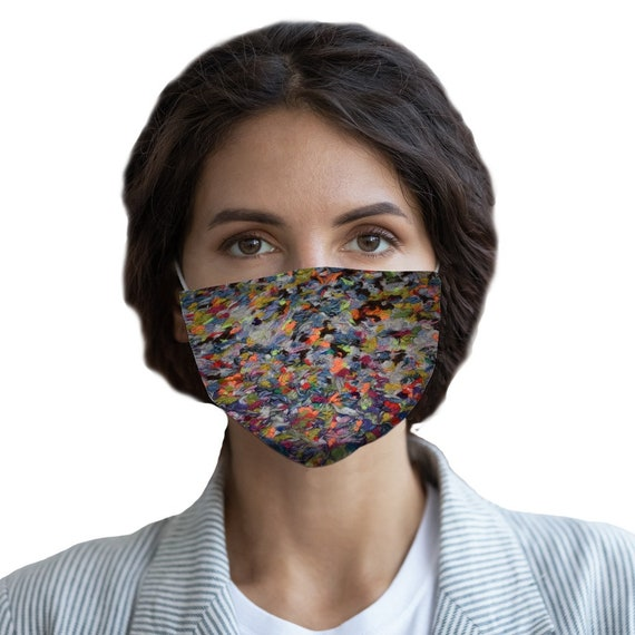 01_Multi-colour wool floor rug Sublimation Face Mask