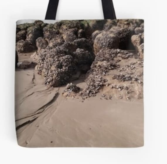 Tote Bag Beach Scene Rock Pool Design