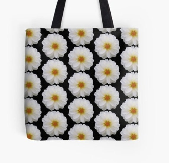 Tote Bag Pink Flower Heads design double sided lined