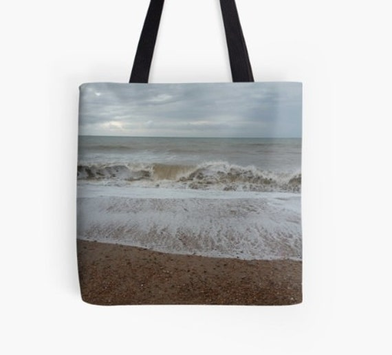 Tote Bag Raging Waves design double sided lined