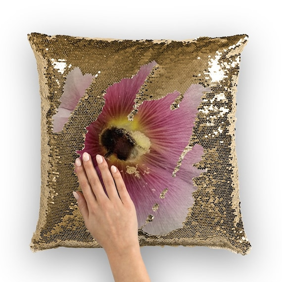 Hollyhock Flower with Bee Sequin Cushion Cover
