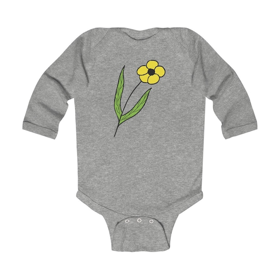 Yellow Flower Design Infant Long Sleeve Bodysuit