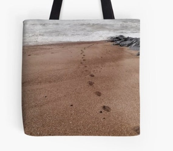 Tote Bag Footprints in Sand design double sided lined