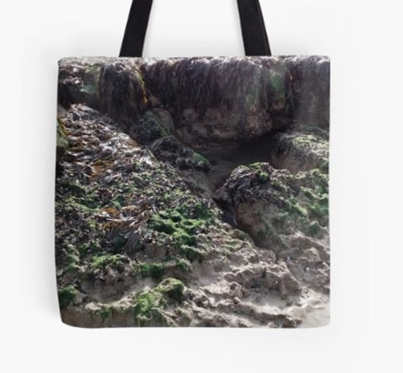 Tote Bag Rock Pools and Sea Weed design double sided lined