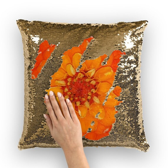 Orange Zinnia Flower Sequin Cushion Cover