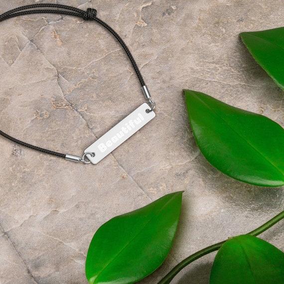 Beautiful Engraved Silver Bar String Bracelet