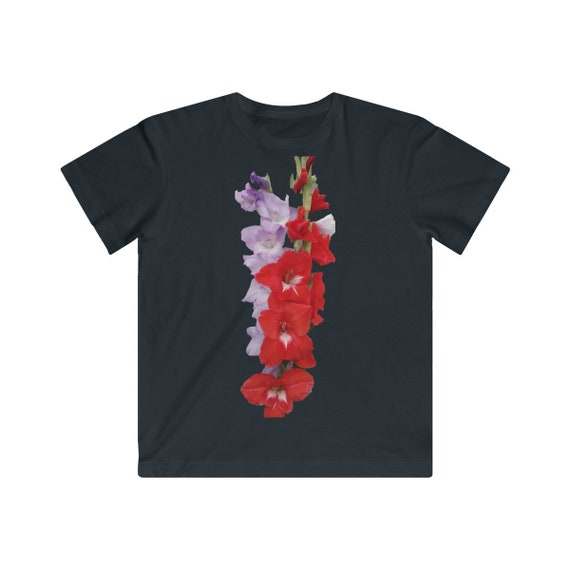Red and Blue Gladiolus Flowers Kids Fine Jersey Tee