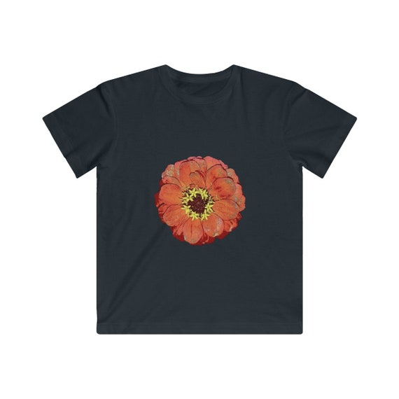 Bright Red Zinnia Design Kids Fine Jersey Tee