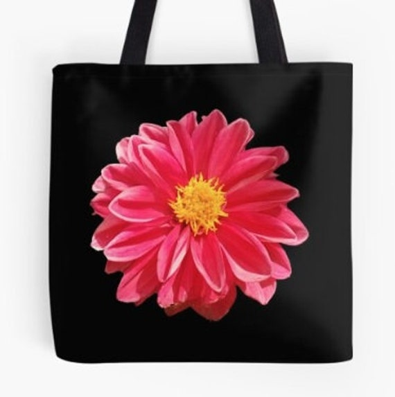 Tote Bag Dark Pink Flower Head design double sided lined