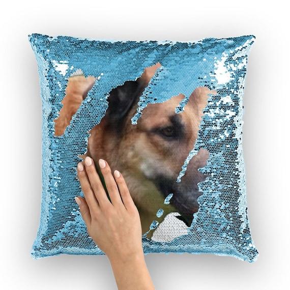 Belgian Malinois Dog Head Sequin Cushion Cover