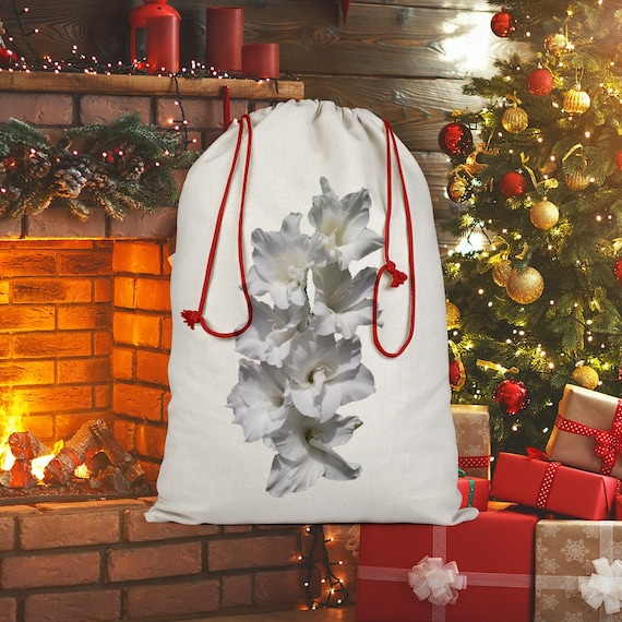 White Gladiolus Sublimation Linen Drawstring Sack