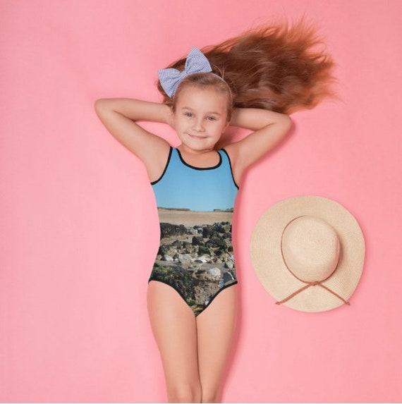 Beach with Rock Pools All-Over Print Kids Swimsuit