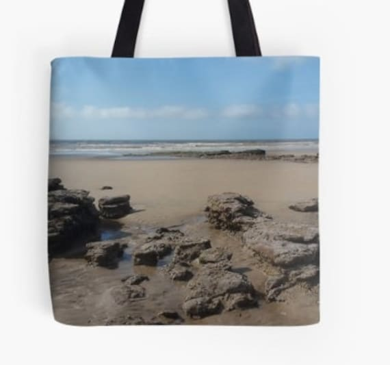 Tote Bag Rocks at the beach design double sided lined