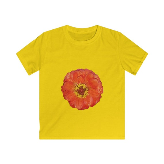 Bright Red Zinnia Flower Kids Softstyle Tee