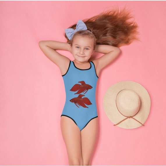 Red Fighting Fish All-Over Print Kids Swimsuit