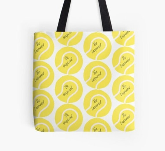 Tote Bag Yellow Tennis Balls design double sided lined