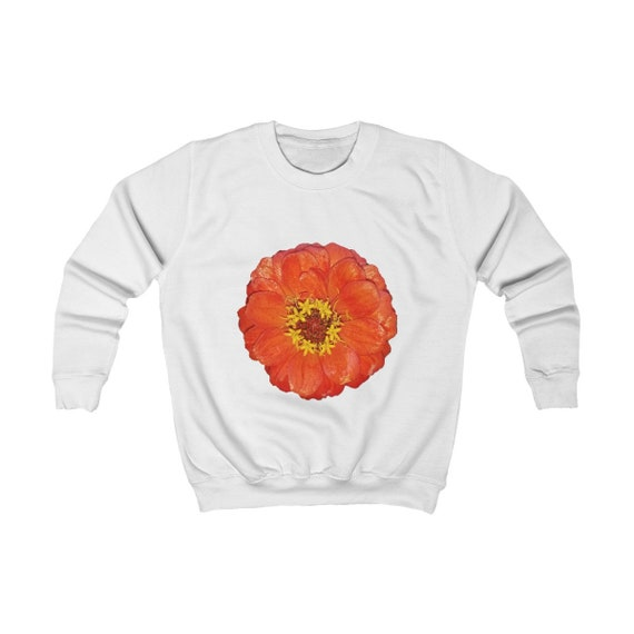 Bright Red Zinnia Flower Kids Sweatshirt
