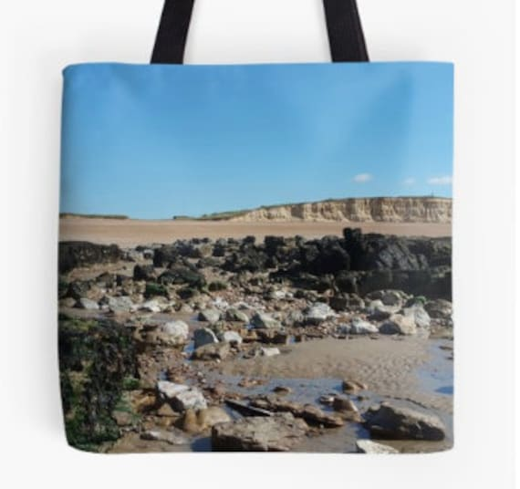 Tote Bag Beach & Rocks design double sided lined