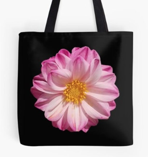 Tote Bag Light Pink Flower Head design double sided lined