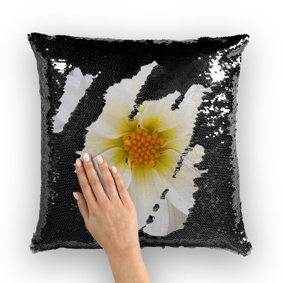 White dahlia flower Sequin Cushion Cover