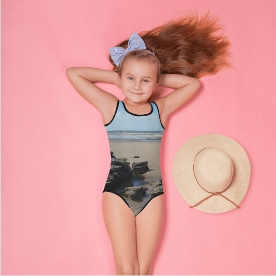 Beach with Rocks All-Over Print Kids Swimsuit