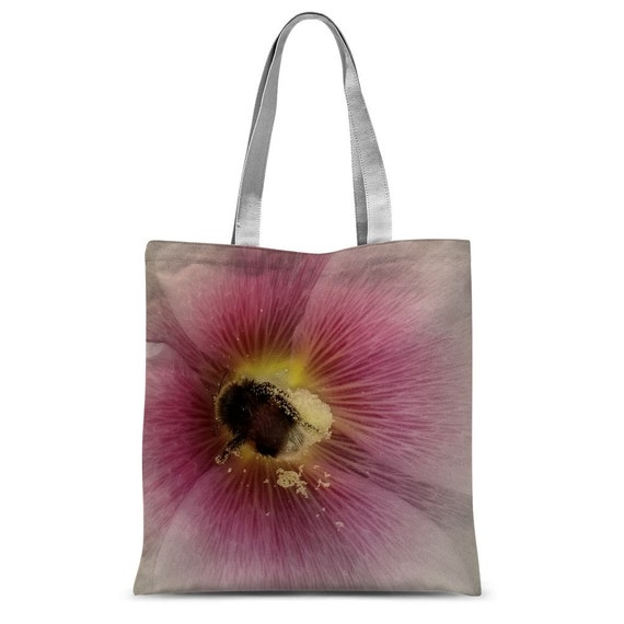 Hollyhock Flower with Bee Classic Sublimation Tote Bag