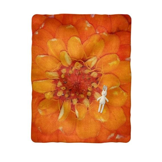 Orange Zinnia Flower Sublimation Baby Blanket