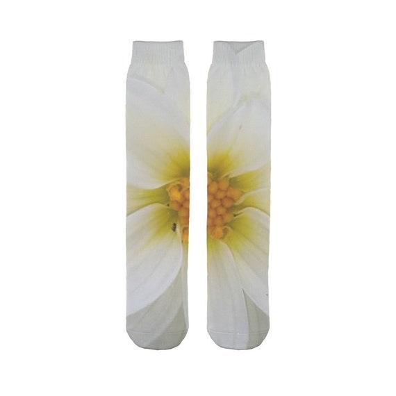 White dahlia flower Sublimation Tube Sock
