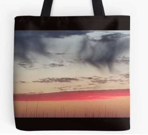 Tote Bag Red Sky at Night design double sided lined