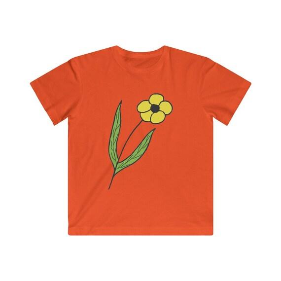 Yellow Flower Design Kids Fine Jersey Tee