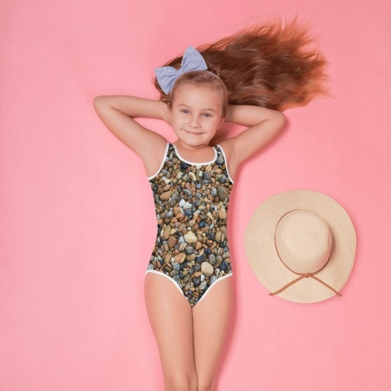 Wet Pebbles Design All-Over Print Kids Swimsuit