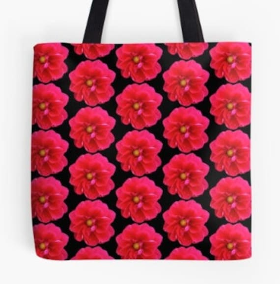 Tote Bag Red Flower Heads design double sided lined