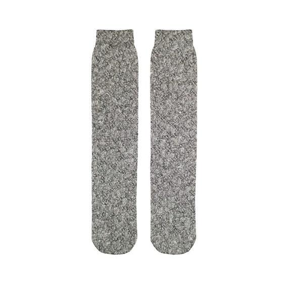 Black Wool Texture Image Sublimation Tube Sock