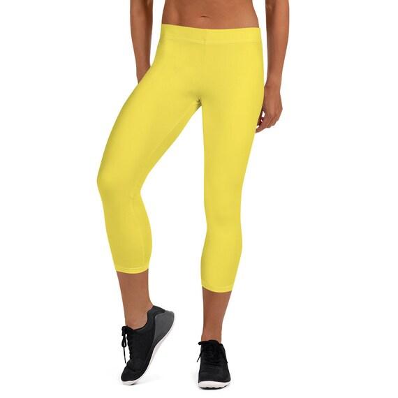 Bright Yellow Adult Capri Leggings