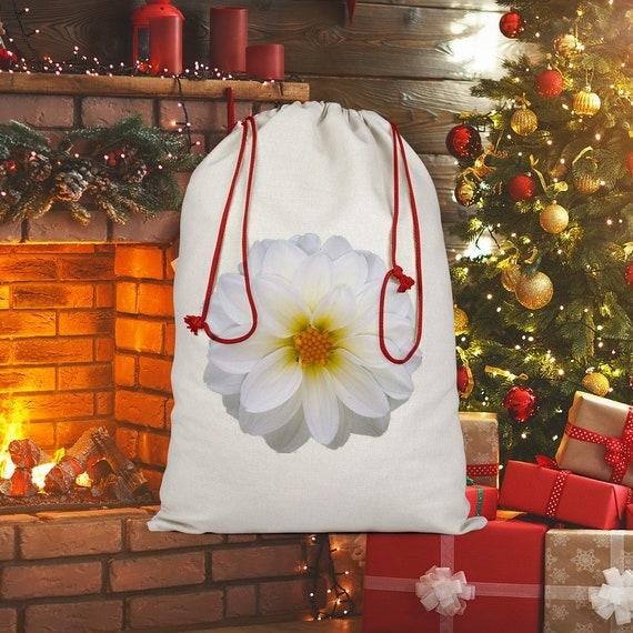 White dahlia flower Sublimation Linen Drawstring Sack