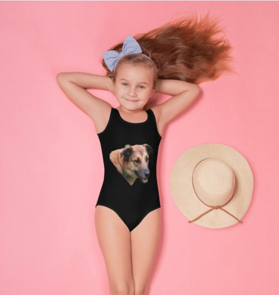 Belgian Malinois Dogs Head All-Over Print Kids Swimsuit
