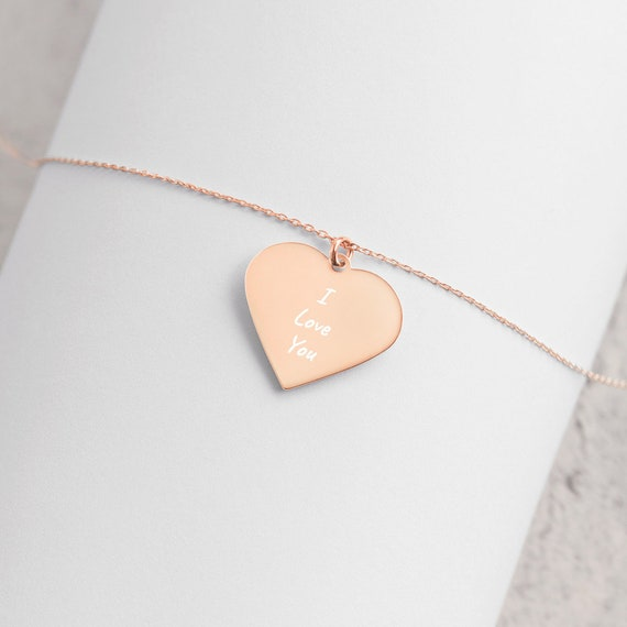 I Love You Engraved Silver Heart Necklace