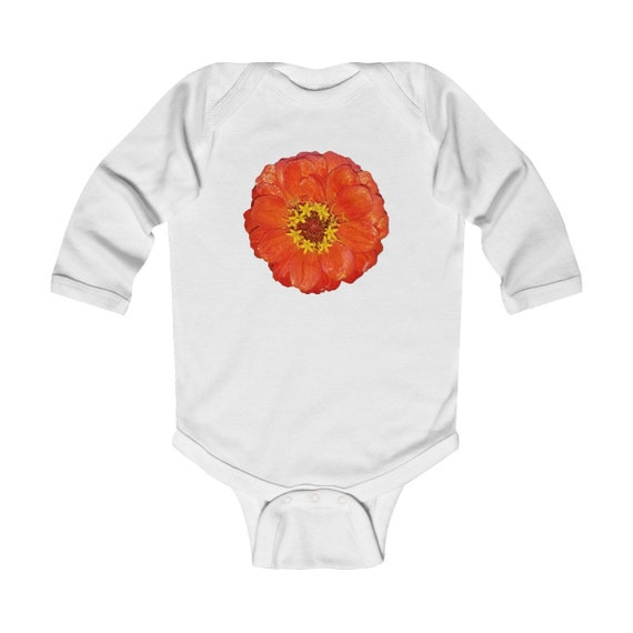 Bright Red Zinnia Flower Design Infant Long Sleeve Bodysuit