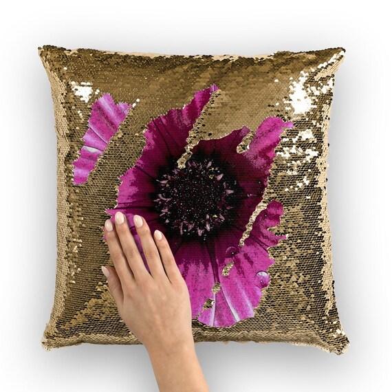 Pink Dahlia Flower Design Sequin Cushion Cover