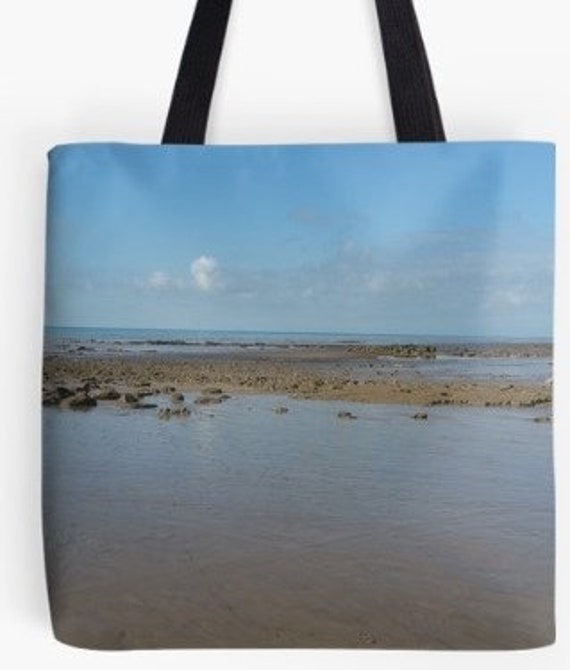Tote Bag Low tide at the beach design double sided lined