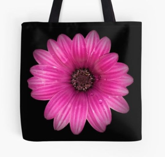 Tote Bag Pink Dahlia Flower design double sided lined