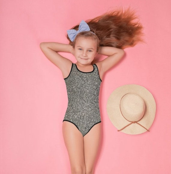 Black Wool Texture All-Over Print Kids Swimsuit