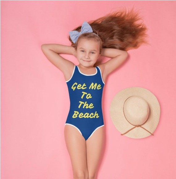 Get Me to The Beach All-Over Print Kids Swimsuit