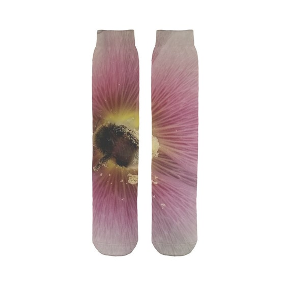 Hollyhock Flower with Bee Sublimation Tube Sock