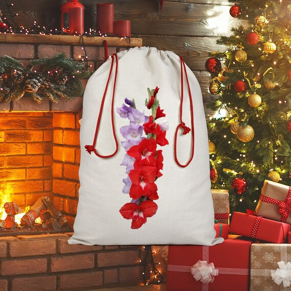 Red and Blue Gladiolus Flowers Sublimation Linen Drawstring Sack