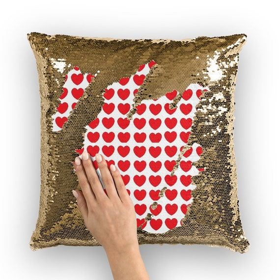 Hearts Sequin Cushion Cover