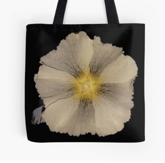 Tote Bag Hollyhock Flower design double sided lined