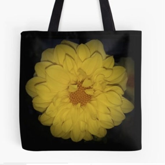 Tote Bag Yellow Flower design double sided lined